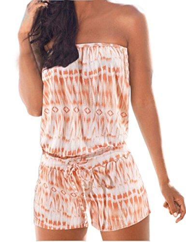 Shinekoo Women Summer Bandeau Off Shoulder Strapless Floral Jumpsuit Boho Beach Playsuit Plus Size Orange H26VPyZk