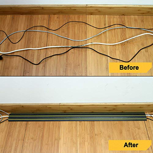 20 Feet overfloor/Cord//Cable Protector/— 3 Cord Channels Fastening Wire Organizer /— Easy to Install