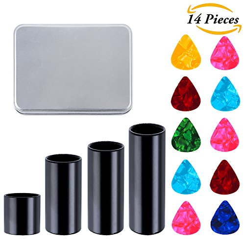 Aneco 4 Pieces Black Stainless Steel Guitar Slides Set Metal Guitar Slide with 10 Pieces Guitar Picks in Metal Box, 4 Sizes