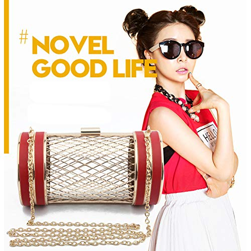 Party Shape Yoome Cylinder Womens Chain Black Cage Metal Shoulder Bag Mesh Evening Girls Handbag Clutch Ugvqng