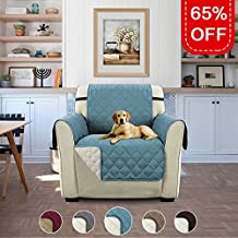 "Turquoize Premium Quality Reversible Sofa Cover for Dogs/Kids/Pets, Furniture Protector with Straps (Chair - Blue/Beige, 75"" x 65"")"