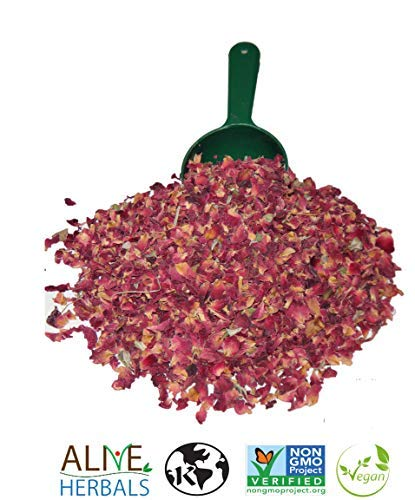 Alive Herbal Organic Dried Red Rose Buds And Petals, Food Grade Non-GMO, Vegan & Kosher 4 OZ.