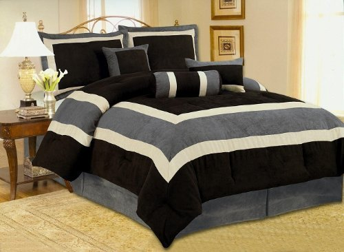 OctoRose Micro Suede Comforter Set (Queen 86x86, Black) ()