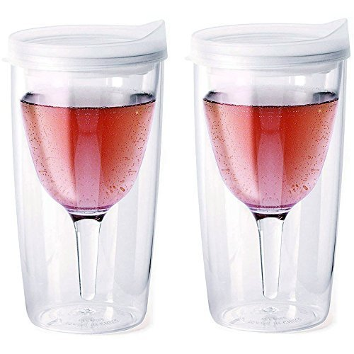 - Vino2Go Double Wall Acrylic Tumbler with Double Frost Lids, 10 oz, Pack of 2