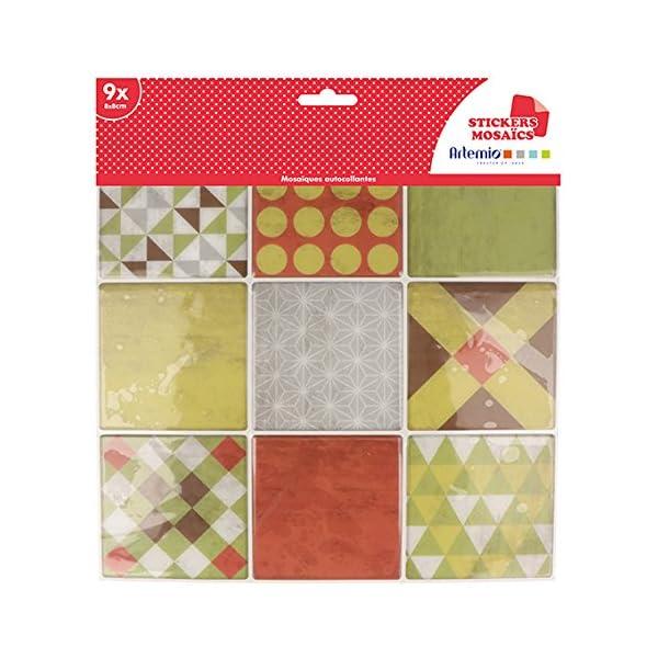 Artemio-9-fogli-mosaico-rosso-autocollante-Multicolore-9-quadretti-di-8-x-8-cm