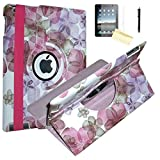 iPad 2 Case, iPad 3 Case, iPad 4 Case, JYtrend (R) Rotating Stand Smart Case Cover Magnetic Auto Wake Up/Sleep For iPad 2/3/4 A1395 A1396 A1397 A1403 A1416 A1430 A1458 A1459 A1460 (Pink Flower)