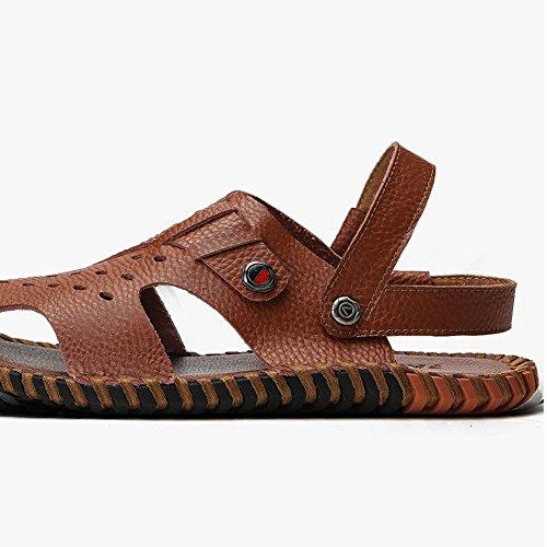 sandali e al antiscivolo adatti il all'aperto la sandali libero da pelle Sandali tempo per spiaggia traspiranti Brown uomo in per regolabili coperto xHTxBqYg