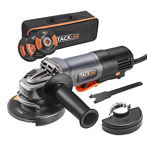 Angle Grinder, 4-1/2-Inch, 11-Amp(1300W) 12000RPM High Performance Tool With Paddle Switch, 3 Wheels for Grinding/Polishing/Cutting, 2 Wheel Guards, 1 Carrying Bag, Tacklife P3AG115 ()