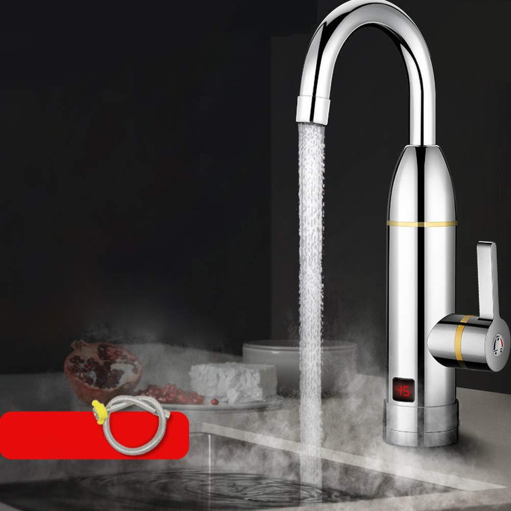 Schneller Warmwasserbereiter-Hahn K/üchenhahn Sofortige Temperaturanzeige Durchlauferhitzer Wassertankloses Heizen Galvanisiertes Silber