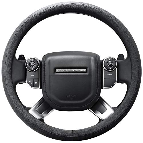 (SEG Direct Microfiber Leather Black Steering Wheel Cover for F-150 Tundra Range Rover 15.5