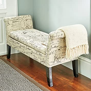 Elegant Josephine French Script Shabby Chic Wooden Fabric Storage Bench  Chaise Lounge