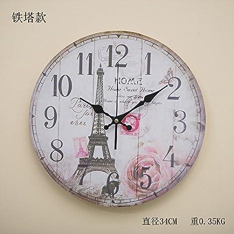 Ornaments qwer Qwer Americana Salón Relojes Retro Estéreo Reloj de Pared de Madera Decoraciones de Pared Home Creative Soporte de Pared: Amazon.es: Hogar