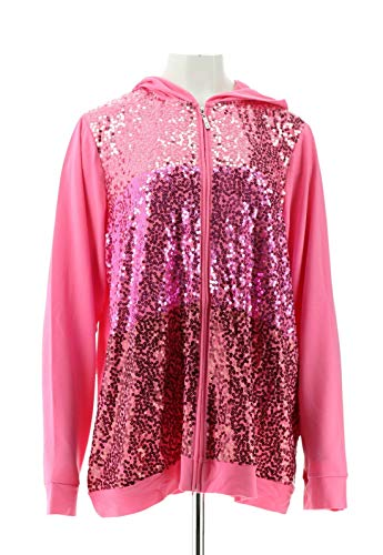 Quacker Factory Ombre Sequin Zip Front Hoodie Azalea for sale  Delivered anywhere in USA
