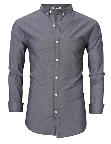 One Button Oxford Dress Shirt - MrWonder Men's Casual Slim Fit Button Down Dress Shirt Long Sleeve Solid Oxford Shirt (S, Grey)