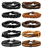 FIBO STEEL 10-12 Pcs Braided Leather Bracelets for Men Women Cuff Bracelet,Adjustable