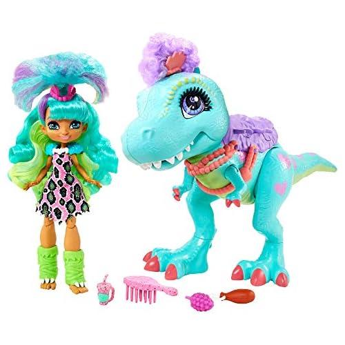 chollos oferta descuentos barato Cave Club Muñeca Rockelle con Mascota Dinosaurio Azul conjunto con accesorios para niños y niñas 4 años Mattel GTL69