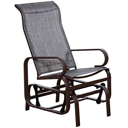 SunLife Patio Glider Rocking Chair, Outdoor Garden Rocker Lounge Chair,  Heavy Duty Steel Frame