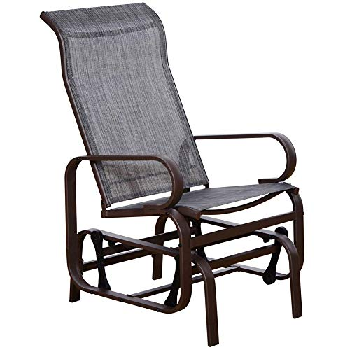 (SunLife Patio Glider Rocking Chair, Outdoor Garden Rocker Lounge Chair, Heavy Duty Steel Frame, Taupe Brown Finish, Gray Fabric)