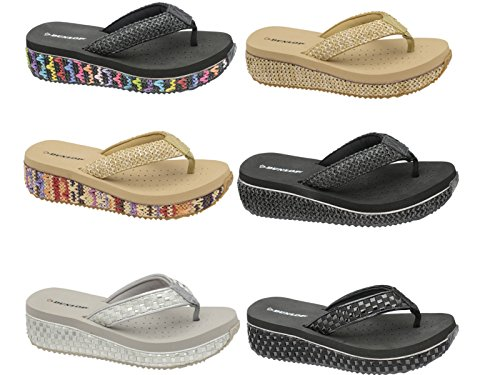 Dunlop - Chanclas chica mujer Black/Woven