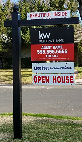 Vinyl PVC Real Estate Sign Post ''Black Knight Ball Cap'' by EZee Post