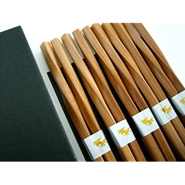 10 (5 pairs) Elegant Twist Bamboo Chopsticks