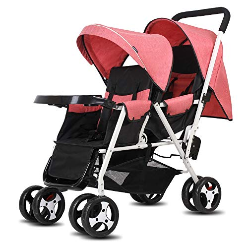 Laz Double Stroller Convenience Urban Twin Carriage Stroller Tandem Collapsible Stroller All Terrain Double Pushchair for Toddler Girls and Boys Stable Stroller Frame (Color : G)