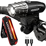 HODGSON Bike Lights 400 Lumens Bicycle Light Front and Back, USB Rechargeable Super Bright Headlight and Flashing Rear Light, IPX4 Waterproof, Easy to Install with All accessories