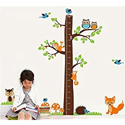 TOTOMO #W125 Tree Fox Height Measurement Chart Wall Decals Removable Wall Decor Decorative Painting Supplies & Wall Treatments Stickers for Girls Kids Living Room Bedroom