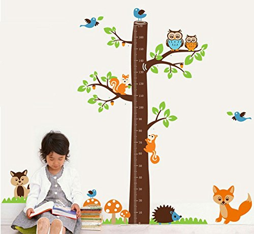 TOTOMO #W125 Tree Fox Height Measurement Chart Wall Decals Removable Wall Decor Decorative Painting Supplies & Wall Treatments Stickers for Girls Kids Living Room (Wallpaper Growth Chart)