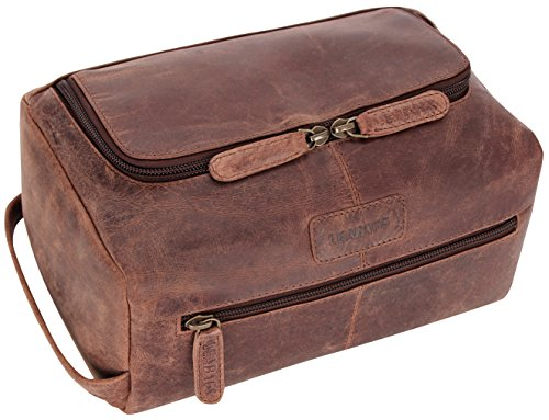 LEABAGS Palm Beach genuine buffalo leather toiletry bag in vintage style - Nutmeg by LEABAGS (Image #4)