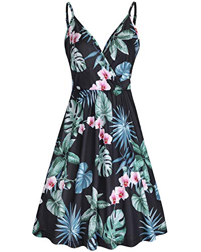 STYLEWORD Women's V Neck Floral Spaghetti Strap Summer Casual Swing Dress with Pocket(Floral09,L)