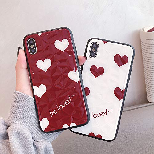(BONTOUJOUR iPhone XS Max Case, Beautiful Bling Heart Pattern Phone Case Water Ripple Surface Design Glitter Hard PC Back and Soft TPU Frame Cover Case Full Body Stong Protection-Red)