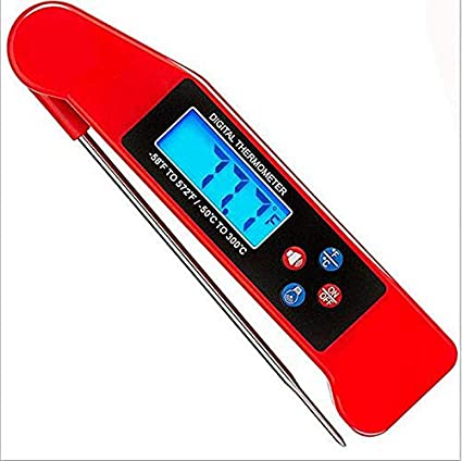 XLWDJ Termómetro De Cocina con Sonda Larga,termómetro De Carne Digital Lectura Instantánea LCD Plegable