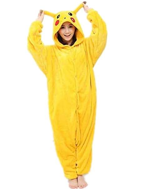 WTUS Pijama Animal de Dibujos Animados Pikachu Unisex para Adultos Capucha Ropa de Dormir Traje de