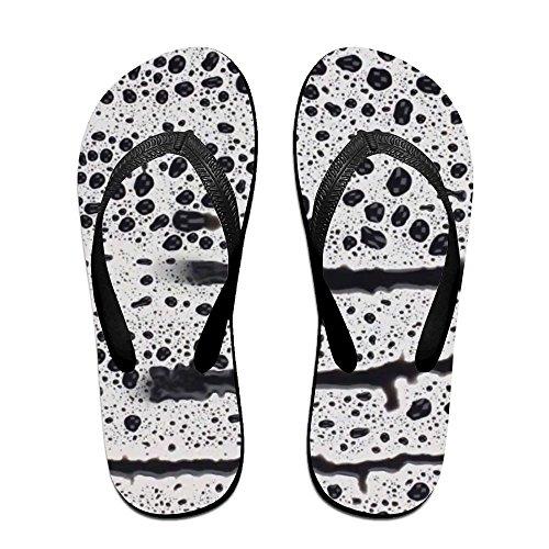 Unisex Abstract Raindrop Summer Strap Flip Flops Beach Slippers Platforms Sandal For Men Women Black f31CYZPryy