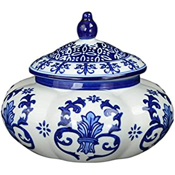 Festcool Blue and White Ceramic Porcelain Pumpkin Shape Ginger Jar Vase, Sugar Canister, Sugar Container, Tea Container, Hand-crafted Jingdezhen