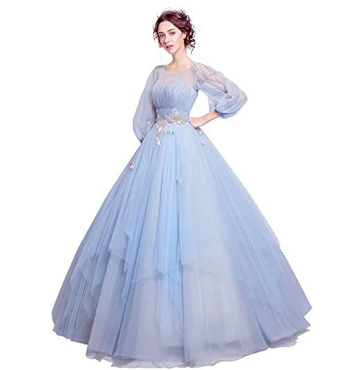Wedding Dresses Puff Sleeves Applique Lace Up Prom Dresses for Wedding Lanier 2018 Blue Size 2