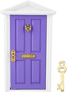 GLOGLOW Doll House Door, 1: 12 Doll House Miniatures Wooden Door Colorful DIY Metal Wood Dollhouse Toys Handmade 3D Mini Dolls Furniture Children Funny Toy Gift(Purple)