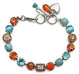 Mariana Swarovski Crystal Silver Plate Bracelet Orange Aqua Circle Rectangle Mosaic M1079 Serengetti