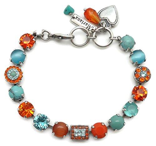 Mariana Swarovski Crystal Silver Plate Bracelet Orange Aqua Circle Rectangle Mosaic M1079 Serengetti by Mariana