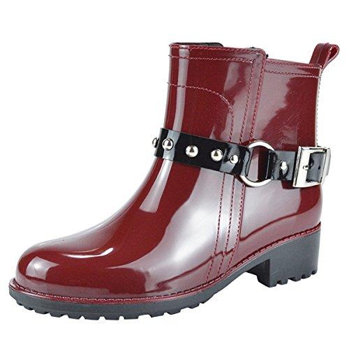 Dear Time Women Ankle Rain Boots Waterproof Buckle Straps Slip on Boot
