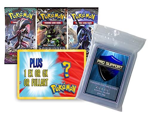 3 Random Pokemon booster packs plus 1 Random EX, GX, or Ultra Rare Full Art Pokemon Card. Plus 1 free 100 pack of Pro Support penny sleeves! (Pack Random 1)