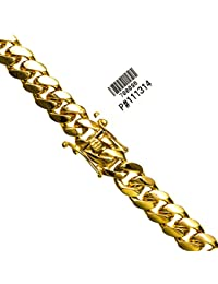 "14K YELLOW Gold MIAMI CUBAN SOLID CHAIN - 30"" Long 12X5MM Wide"