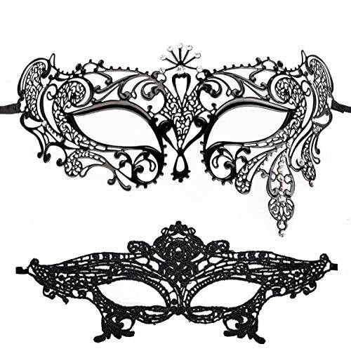 Masquerade Mask for Women Shiny Metal Rhinestone Mask Party Porm Ball Mask Free Lace Mask (Peacock -