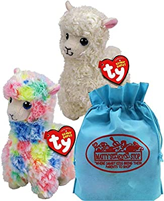 365ab786ddf Ty Beanie Babies Llamas Lily (White)   Lola (Multi-Color) Gift Set Bundle  with Bonus Matty s Toy Stop Storage Bag - 2 Pack