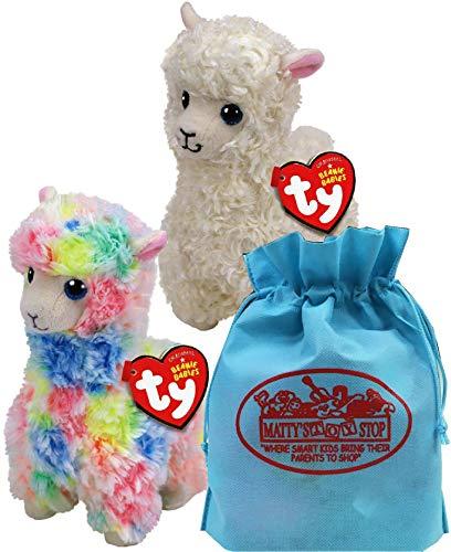 Ty Beanie Babies Llamas Lily (White) & Lola (Multi-Color) Gift Set Bundle with Bonus Matty's Toy Stop Storage Bag - 2 -