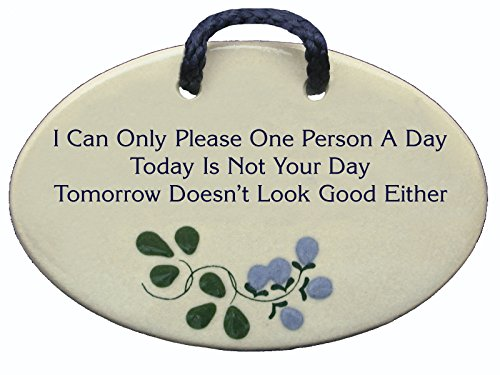 I Can Only Please One Person A Day. Today Is Not Your Day. Tomorrow Doesnt Look Good Either. Ceramic wall plaques handmade in the USA for over 30 years. FREE standard shipping