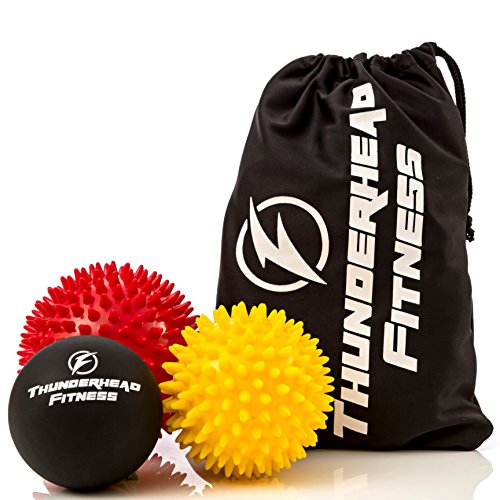 Massage Balls for Trigger Point Therapy, Myofascial Release, Plantar Fasciitis Relief, Muscle Pain, Deep Tissue Neck, Back & Foot Massager - Pressure Points - (2) Spiky Balls & (1) Lacrosse Ball