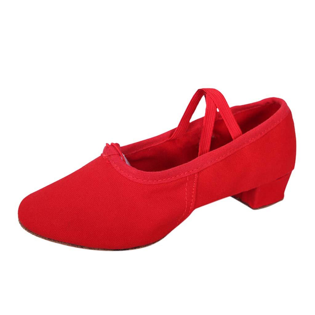 ZOMUSA Women Dancing Rumba Waltz Prom Ballroom Latin Ballet Dance Singles Shoes Red