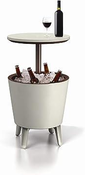 Keter Cool Bar - Mesa nevera para exterior, Blanca / marrón, 50x41x50 cm: Amazon.es: Jardín
